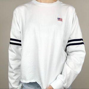 Mighty Fine USA Flag White Long-Sleeve
